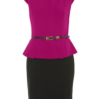 Color Block Peplum Dress - Dresses  - Apparel