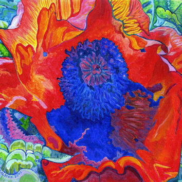 "ORIGINAL acrylic painting on Canvas paper - Japanese Poppy No.9 - 8"" x 10"""