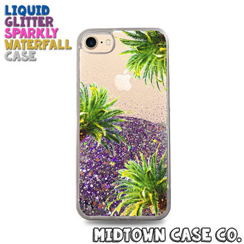Palm Trees Leaves Pattern Cute Pretty Cool Liquid Glitter Waterfall Quicksand Sparkles Glitter Bomb Bling Case for iPhone 7 7 Plus 6s 6