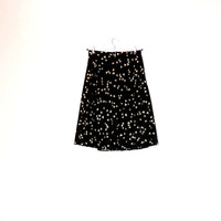 Cute And Feminine Black Pleated Skirt With Small White Triangles, Vintage Girly Skirt