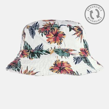 Tropical White Reversible Bucket Hat