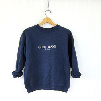 vintage GUESS sweatshirt. navy blue pullover sweater. preppy revival top