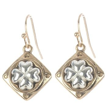 Sliver Four Leaf Clover Two Tone Metal Earring