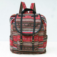 Tribal Native Ethnic Backpack Hippie Gypsy Bohemian Style Red/Brown