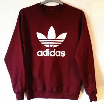 PEAPUF3 Adidas Burgundy Fashion Casual Long Sleeve Sport Top Sweater Pullover Sweatshirt G