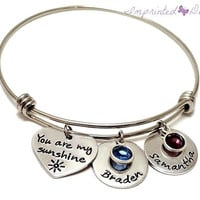 Alex Ani Bracelet - Mother Bracelet - Personalized - Expandable - Adjustable - Name Birthstone - You Are My Sunshine - Hand Stamped Jewelry