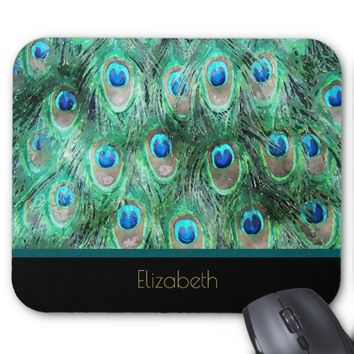 Peacock Feathers Exotic Wild Watercolor Pattern Mouse Pad