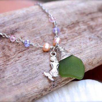 Mermaid Anklet, Sea Glass Jewelry made in Hawaii by Mermaid Tears, Beach Glass Ankle Bracelet with green seaglass