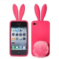 Sofe Cute Bunny Rabbit Ears Silicone Gel Cover Case For Iphone 4 4S 4G Pink