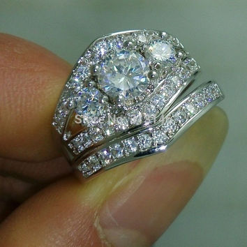 Size 5-10 Dazzling CZ Crystal 10K White Gold Filled Cubic Zirconia Gemstone Silver Women's Wedding Bridal Engagement Matching Band Ring Set = 1932561988