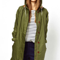 Army Green Hoodie Zipper Coat