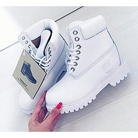 Timberland Rhubarb Boots Fashion Classic Women Men Shoes Waterproof Martin Boots Lovers Pure White I