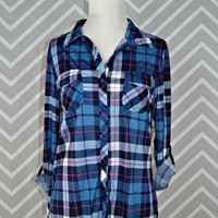 Country Backwoods Flannel - Blue/Fuchsia