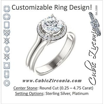 Cubic Zirconia Engagement Ring- The Elaine Li (Customizable Round Cut Style with Halo, Wide Split Band and Euro Shank)