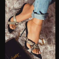 Hot style sexy cross with snake print leopard print flip-flops