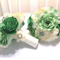 Brooch bouquet with shades of clover green filter flowers, pearl and rhinestone brooches and satin ribbon flowers, Peony or Rose bouquets