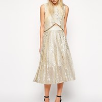 Sister Jane Pleat Midi Skirt in Metallic Animal Print - Silver