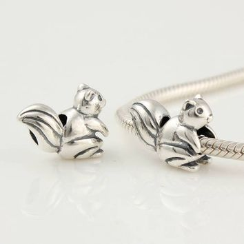 925 solid sterling silver animal squirrel charm bead for women girls