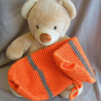 Crochet Plastic Bag Holder Orange with Gray Stripes by CroweShea