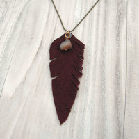 Leather Feather Necklace on Long Brass Ball Chain in Maroon Suede