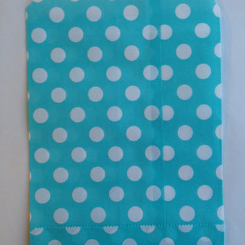 25 Blue Polka Dot favor bags / Treat Bags / Wedding Favor Bags / Birthdays / Party Favor Bags / Polka Dot Paper Treat Bags / Bakery Bags