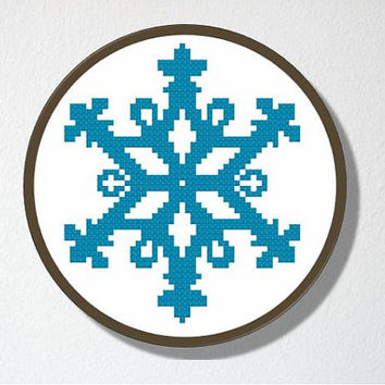 Counted Cross stitch Pattern PDF. Instant download. Snowflake Silhouette. Includes easy beginner instructions.