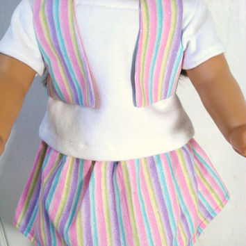 18 Inch Doll Skirt, T shirt, Vest and Headband, Pastel Striped 4 Piece Outfit fits 18 American Girl Dolls