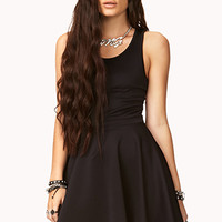 Mesh Back Fit & Flare Dress