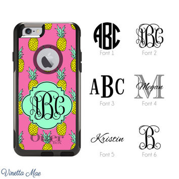 iPhone Otterbox Commuter Series Case for iPhone 5, 5s, 6, 6 Plus Monogrammed Pineapple Palm Springs Miami Beach Initials Personalized 1179