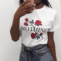Nothing Fashion Rose Flower Print Shirt Top Tee