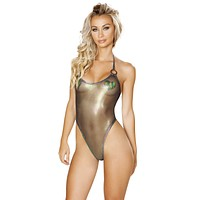 Sexy Caught Slippin O-Ring Sheer Iridescent Romper
