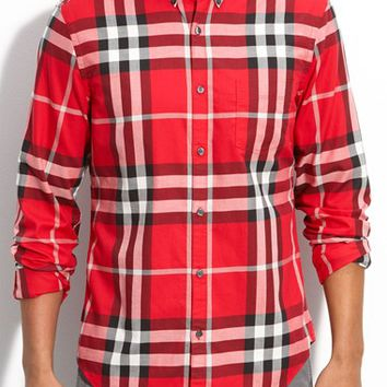 Men's Burberry Brit Trim Fit Exploded Check Print Shirt