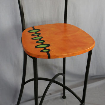 Mid century modern hand painted furniture bar stool orange green wood seat with black metal legs.