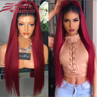 OPAL FERRIE-Rooted Human Hair Wig Red Color Virgin Brazilian Burgundy Full Lace Wigs Silky Straight Lace Front Wigs Two Tone Ombre Hair Wig