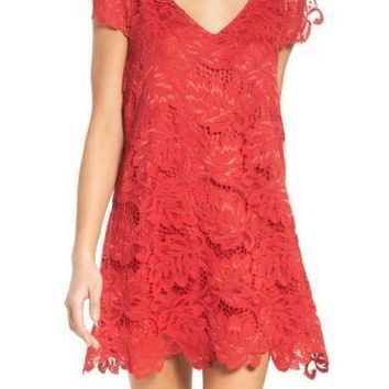 BB DAKOTA Jacqueline Lace Shift Dress True Red $75