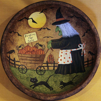 Halloween Folk Art Hand Painted Wood Bowl - MADE TO ORDER - Old Green Faced Witch Pushes Her Cart of Pumpkins for Sale, Black Cats, Bats
