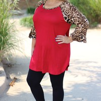 Red Raglan Tunic with Leopard Sleeves ~ Sizes 12-18