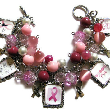 Breast Cancer Awareness Altered Art Charm Bracelet Pink Beads