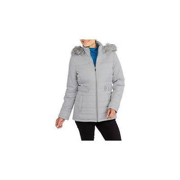 Women's Fashion Puffer Coat With Fur-Trimmed Hood, Small 4-6, Soft Silver Fade