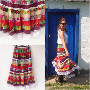Boho Skirt, Festival Skirt, Multicolor Patchwork Skirt, Gypsy Skirt, Maxi Skirt, Multicolor Patchwork skirt, size small 6/8 EU size 36/38