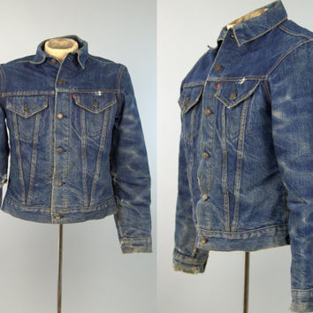 60s Levis Big E Indigo Denim Distressed Blanket Lined Denim Jean Jacket