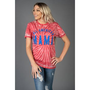 All Amercian Mama Red Tie Dye Graphic Tee (S-2XL)
