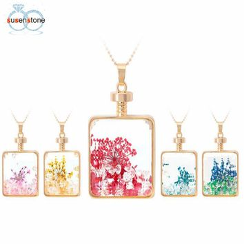 SUSENSTONE Women Dry Flower Square Glass Wishing Bottle Pendant Necklace