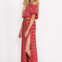 Gypsiana Split Skirt - Red Bandana