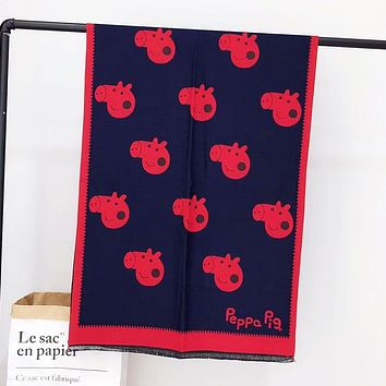 Peppa Pig Women Autumn And Winter Fashion New More Pig Print Warm Scarf