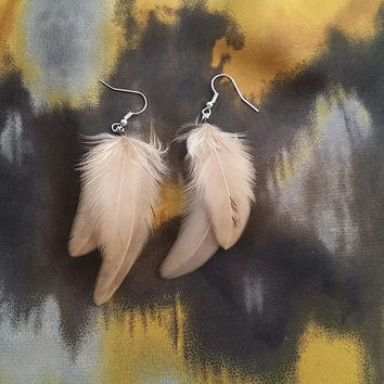 Light Brown Feather Earrings