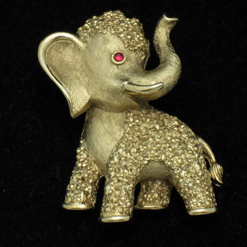 TRIFARI Vintage GOP Republican Political Figural Elephant Brooch Pin