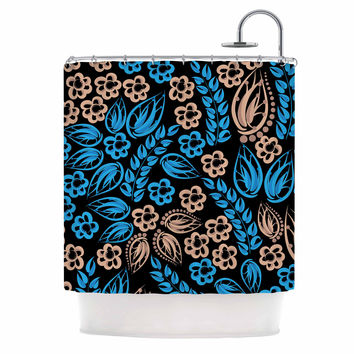 "Maria Bazarova ""Blue Flowers"" Black Floral Shower Curtain"