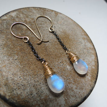 Rainbow Moonstone Gold Filled and Oxidized Sterling Silver Dangle Earrings
