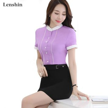 Contrast Color Short Sleeve Blouse Lavender Shirts Casual Style New Fashion Women Tops Summer Wear Office Ladies